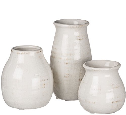 Porcelain Vase Set (Sullivans Decorative Distressed Crackled Ceramic Vases in Cream, 3 - 5.5 Inch - Set of 3)