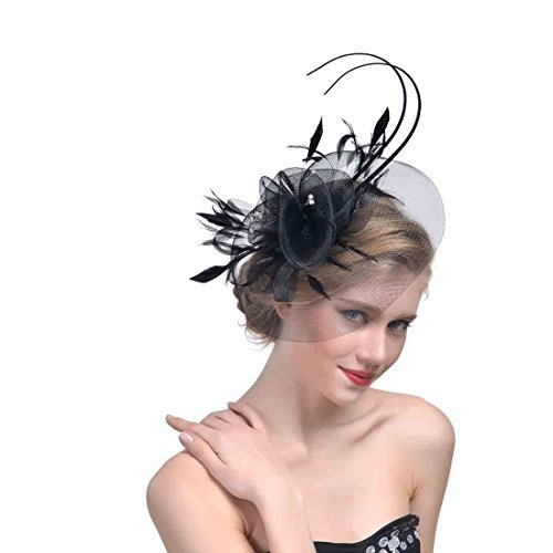 Zongsi Fascinators Hat Flower Mesh Feathers Hairpin Hat Clip Cocktail Tea Wedding Party Headwear For Girls and Women(Style2, Black) (Pin Womens Cap)