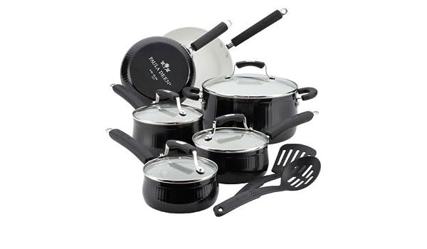 Colección de Paula Deen Savannah antiadherente de aluminio - negro - batería de cocina Set: Amazon.es: Hogar