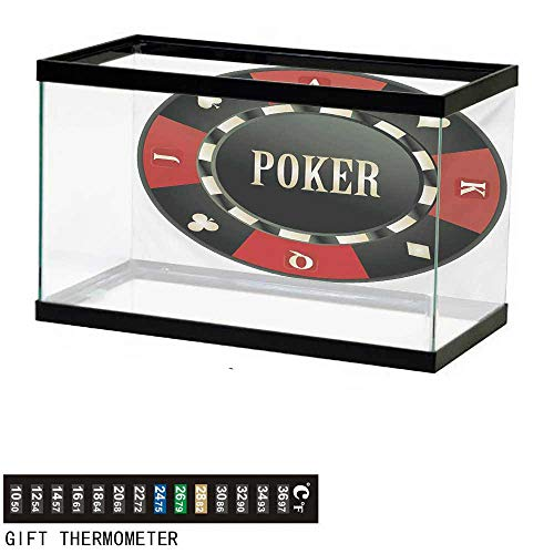 Aquarium Background,Poker Tournament,Casino Chip with Poker Word in Center Rich Icon Card Suits Print,Vermilion Army Green Fish Tank Backdrop 30