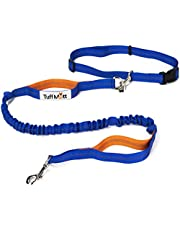 Tuff Mutt Hands Free Dog Leash for Running, Walking, Hiking, Durable Dual-Handle Bungee Leash is 4 Feet Long with Reflective Stitching, Adjustable Waist Belt That Fits 42 Inch Waist