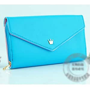 Ziyan Fashion Korean cute PU Leather wallet case for Samsung Galaxy S3,S2,Note 2 N7100, i9220, iPhone 5,4S/4 - 7 Colors available (Blue)