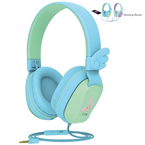 Kids Headphones, Riwbox CS6 Lightweight Foldable Stereo Headphones Over Ear Corded Headset Sharing Function with Mic and Volume Control Compatible for iPad/iPhone/PC/Kindle/Tablet (Blue&Green)