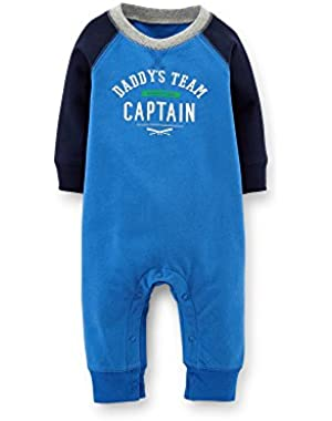 Baby Boys' French Terry Jumpsuit - Daddy Captain (24M, Royal Blue)