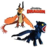 2X How to Train Your Dragon Plush Toy Toothless & Nightmare Cool Stuffed Animal