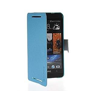 Domettch Carcasa Cuero del tirón la cubierta protectora Caso Tapa Cartera Funda Case para HTC One M7 Azul