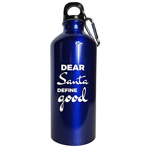 Dear Santa Define good - Water Bottle Metallic Blue -