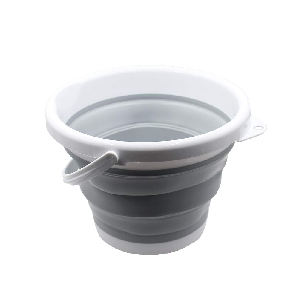 Collapsible Buckets Pails, 2018 Multi Purpose Foldable Buckets 5Liter, 1.5 Gallons, Portable Pail for Fishing, Picnic, Camping or Beach (Grey)