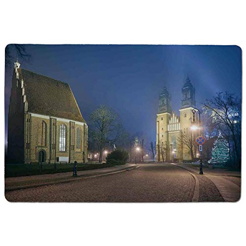 Cathedral Island - SCOCICI Mouse pad - Gaming Mouse pad - Gothic Medieval Middle Age Churches Cathedral Island with Night Lights Photo Pri Professional Control Gaming Mouse Pad Locking Edge Game Mat 23.6x15.7 inch