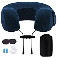 Greengoal Travel Pillow, Memory Foam Neck Pillow, with Ear Plugs, Eye Mask and Drawstring Bag for Airplane, Auto, Bus, Car, Train, Office Napping, Camping, Wheelchairs and Home