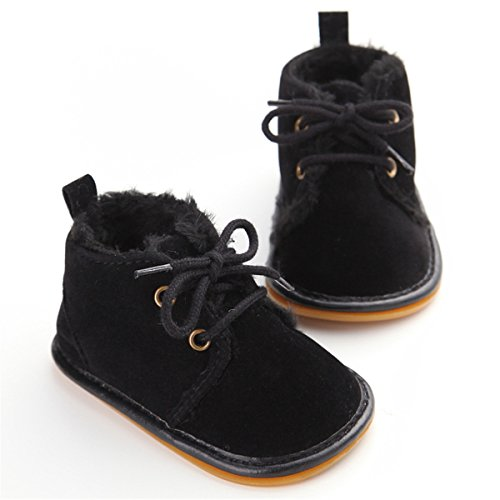 Sabe Winter Newborn Unisex Baby Girls Boys Velvet Rubber Sole Anit-slip Shoes Prewalker Boots (6-12 month, Black)