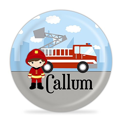 Firefighter Personalized Plate - Kids Fire Truck Melamine Plate (Personalized Fire Truck Plate)