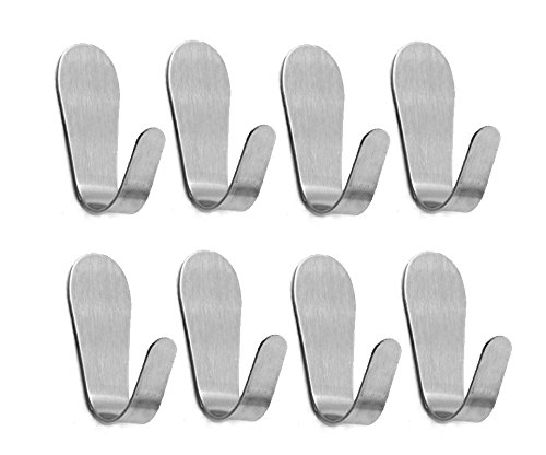 Contemporary Spring (8 Pack 2 Inch Spring Country Stainless Steel Adhesive Hooks | Key Rack Garage Storage Organizer Stick On Sticky Bathroom Kitchen Wall Mount Towel Hanger| Contemporary Style Brushed Finish (5221mm))