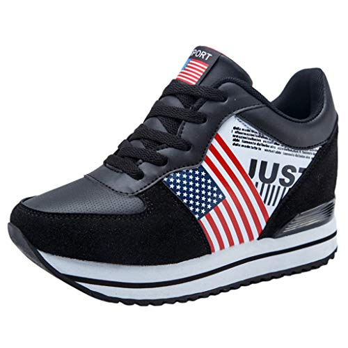 Red Ta Women Fashion Hidden Heels Thick Platform American Flag Sneakers Shoes