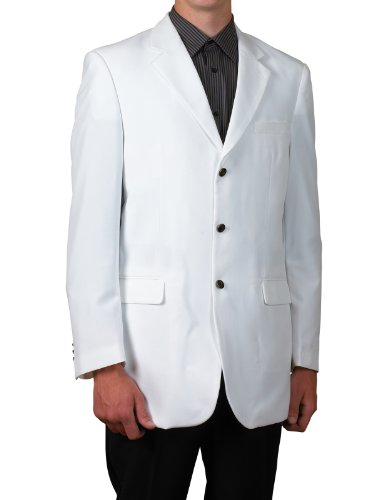 New Mens 3 Button Single Breasted White Blazer Sportcoat Suit Jacket White 38 Long