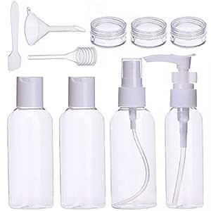 Botella de Viaje de Pl/áStico Bolsa de Cosm/éticos Impermeable para Hombre y Mujer Botella Transparente de Vuelo Con Embudo Peque/ño para Vuelo Aeropuerto Vacaciones