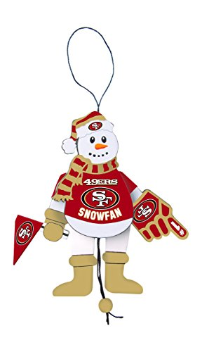 NFL San Francisco 49ers Wooden Cheering Snowman Ornament