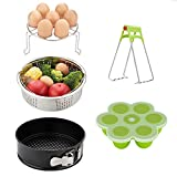 Mery Instant Pot Accessories Set-Fits 5,6,8Qt Instapot Pressure Cooker, 5Pcs Basket Steamer Rack Egg Bites Molds Non-Stick Springform Pan DishClip White