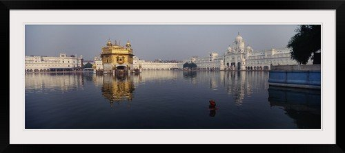 GreatBIGCanvas ''Temple at the waterfront, Golden Temple, Amritsar, Punjab, India'' Photographic Print with Black Frame, 48'' x 17''