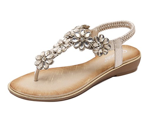 De Plana Playa Oro Mujer Bohemia Rhinestoneszapatos Flops De Clip Flip Sandalias q1HI6wIYx