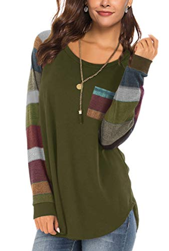 Patrick Long Sleeve Blouse - Color Block Tops for Women Round Neck Casual for Fall Winter Long Sleeve Tunic Tshirt Blouses Juniors Tops Navygreen XL