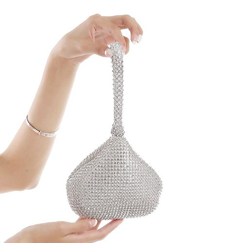 Jian Ya Na Fashion Women Rhinestone Trihedral Clutch Evening Bag Bling Zipper Wedding Purse (Silver) by Jian Ya Na (Image #3)