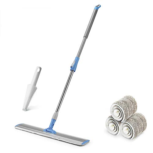 Wet Mop 24 Microfiber Mop Heavy Duty Floor Mop Aluminum Mop Adjustable Stainless Steel Handle Velcros Locking 4 Wet and Dry Clothes Floor Cleaning System