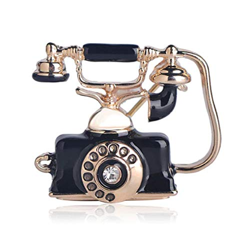 """FTH Retro 1918 Cradle Desk Telephone 1"""" Pin Brooch Rotary Dial with Crystal.Amazing Detail & Unique Memorabilia Gift for a Communications Executive"""