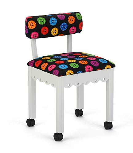 Arrow Wood Sewing and Craft Chair with Gingerbread Design, Under Seat Storage and Print Upholstery Fabric - White by Arrow Sewing Cabinets (Image #2)
