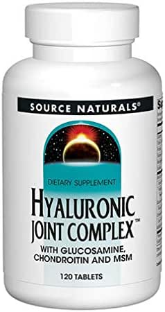 Source Naturals Hyaluronic Joint Complex Advanced Pain Relief, Health, Comfort & Mobility with Glucosamine, Chondroitin, MSM & Vitamin C - Connective Tissue Support Supplement - 120 Tablets