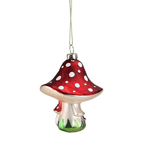 "4"" Red Fairytale Mushroom Glass Christmas (Glass Ornament Mushroom)"