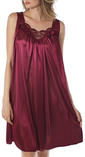 (Venice Womens' Silky Looking Embroidered Nightgown 06N 3X-Large Wine )
