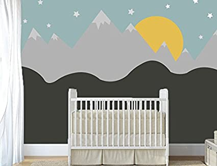 Amazon.com: Stars Sun And Mountains - Nursery Wall Decal For ...