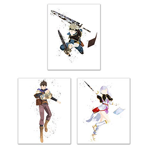 [해외]Watercolor Black Clover Poster Prints - Set of 3 (8x10) Glossy Anime Shonen Manga Wall Art Decor - Asta - Yuno - Noelle Silva / Watercolor Black Clover Poster Prints - Set of 3 (8x10) Glossy Anime Shonen Manga Wall Art Decor - Asta...