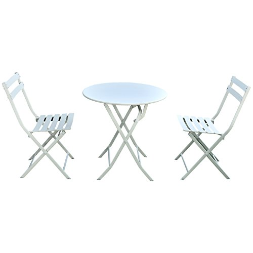 Giantex 3 PC Folding Bistro-Style Patio Table and Chair Set Outdoor Patio Garden Pool Backyard Furniture(White) (Spaces Furniture Patio Small)