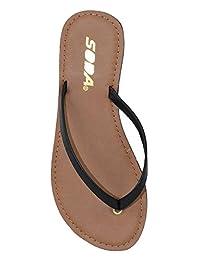 Soda Shoes Women Flip Flops Basic Plain Sandals Strap Casual Beach Thongs FELER