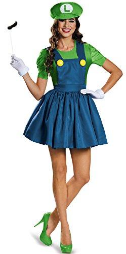 Disguise Women's Luigi Skirt Version Adult Costume, Green/Blue, -