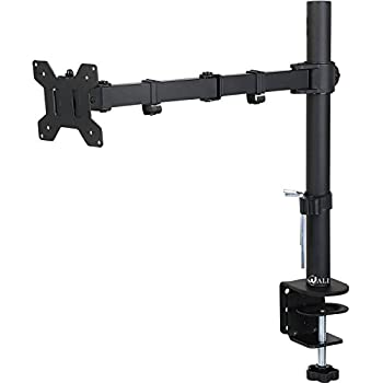 """WALI Single LCD Monitor Desk Mount Stand Fully Adjustable Fits One Screen up to 27"""",  22 lbs  Capacity, C-Clamp / Grommet Base (WL-M001)"""