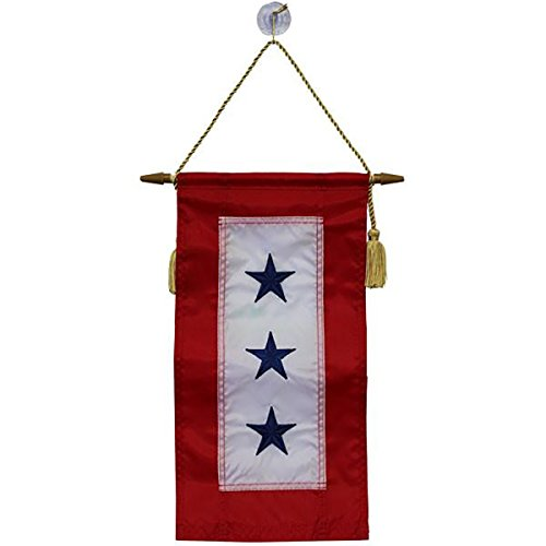 Family Member Military Service Banner - Three Blue Stars Service Banner Flag - 8 Inches by 15 Inches ()