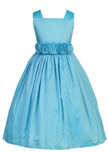 Sweet Kids Big Girls' Slvless Dress Rolled Flw Waistband 12 Turquoise(SK 3047)