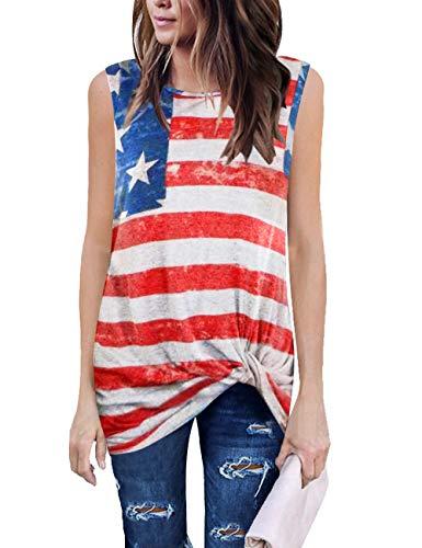 LookbookStore Women's American Flag Tank Tops 4th July Tanks Patriotic Shirt Soft Summer Sleeveless Twist Knot Knit Tank Tops Size M US 8 -