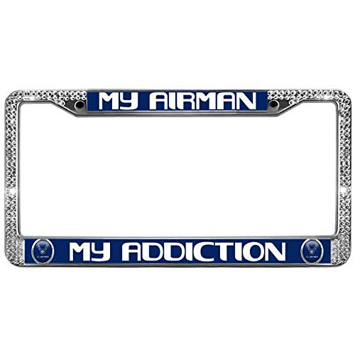 Xinnowping My Addiction License Plate Frame Gift for Women Girls My Airman Glitter Crystal License Plate Frame Stainless Steel Durable License Plate Screws with Screw Caps
