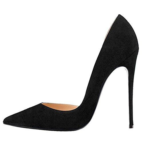 MERUMOTE 35 Designer Dame Slip Pumps EU toe Schwarz Faux Damen 018 Y On High 46 Dress Schuhe Wildleder Heel Pointed AwcAfZrq