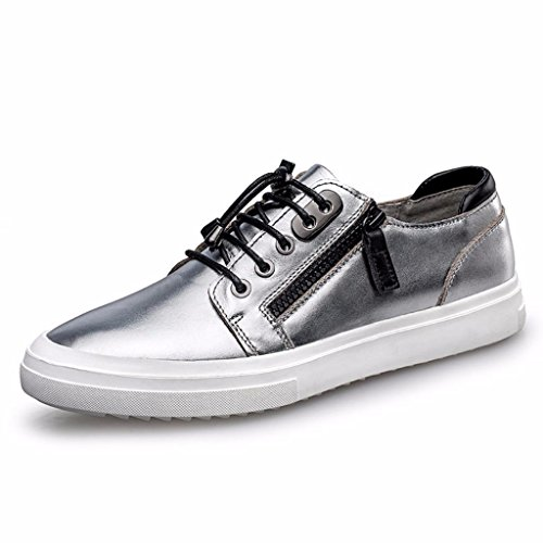 Moonwalker Men's Full Grain Leather Side Zipper Fashion Sneakers (9.5 D(M) US,Silver)