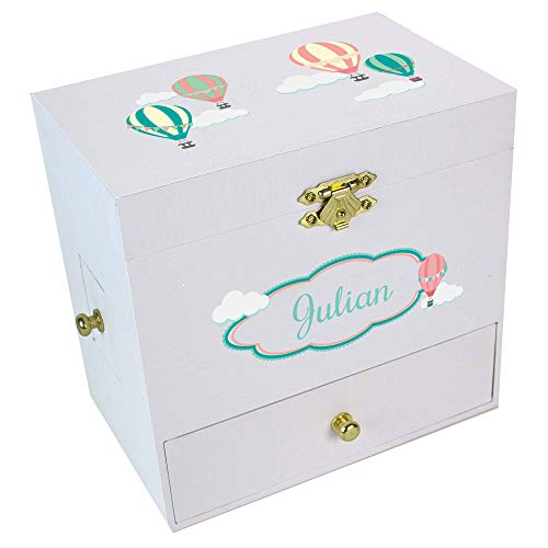 Personalized Hot Air Balloon Deluxe Musical Ballerina Jewelry Box