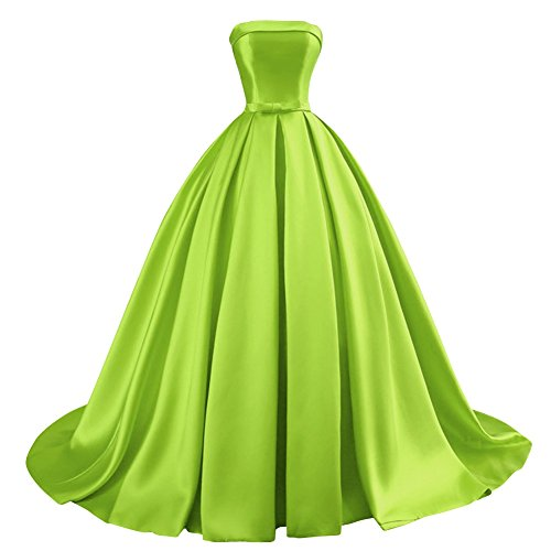 Bess Bridal Women's Ball Gowns Lace Up Long Formal Prom Evening Dress with Bow US6 Lime Green