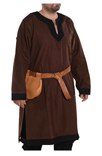 byCalvina - Calvina Costumes Arthur Medieval Viking LARP Renaissance Mens Cotton Tunic- Made in Turkey, 3XL-BRW/BLC