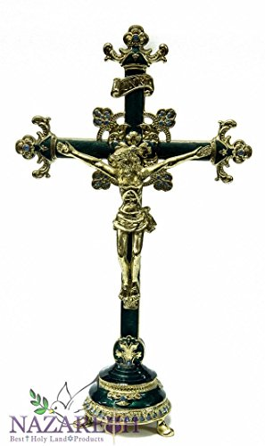 Unique Green Enamel Jesus Cross Statue Pewter Cross with Zircons Crystals 10'' by Holy Land Gifts