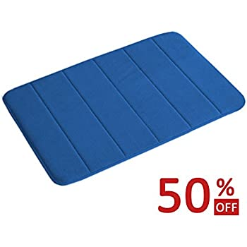 FlamingoP 17 inch by 24 inch Microfiber Memory Foam Bath Mat with Anti-Skid Bottom Non-Slip Quickly Drying Royal Blue Striped Pattern