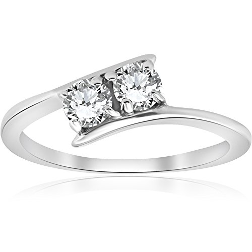 1/2 ct Two Stone Diamond Forever Us Engagement Ring 10k White Gold